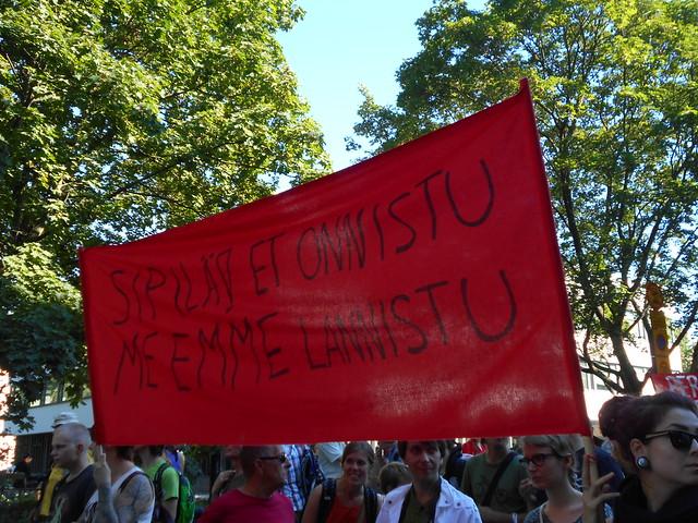 Mielenosoitus Helsingissä hallituksen leikkauspolitiikkaa vastaan 22.8.2015 - 12