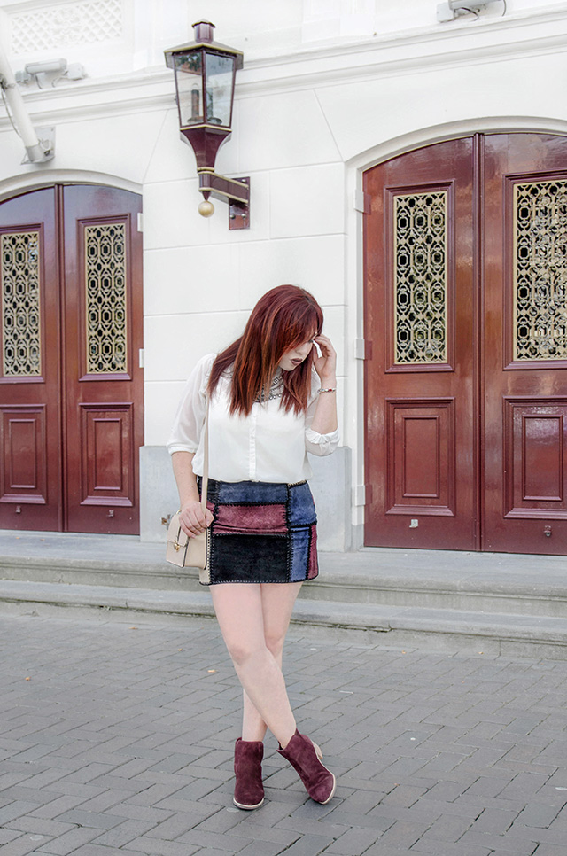 Coloured Leather Skirt