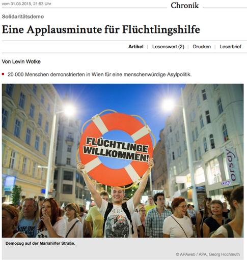 14h31 Wiener Zeitung Manifa apoyo refugiados