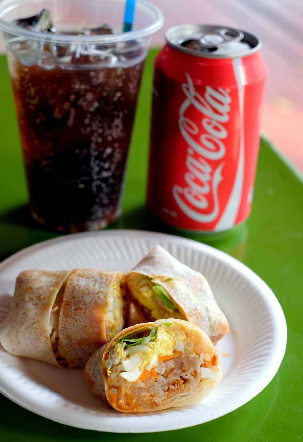 local food with Coke: Rojak, Popiah & Cockle