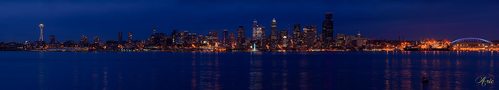 Seattle Skyline and Elliot Bay at Night from West Seattle