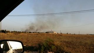 Rutigliano-Fuoco e fiamme a Lama San Giorgio-L'incendio visto da via Adelfia