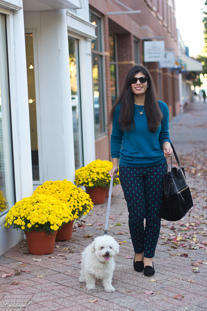 teal sweater, printed pants, ferragamo pumps-2.jpg