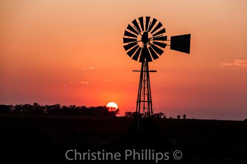 africa sunset orange silhouette horizontal sunrise countryside south windpump