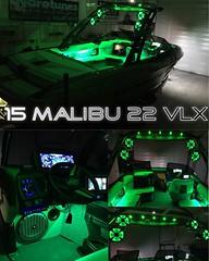 2015 Malibu 22 VLX Hydrotuned #wakeboat #wakeboatporn #hydrotunes #green #greenmachine #led #leds #ledlights