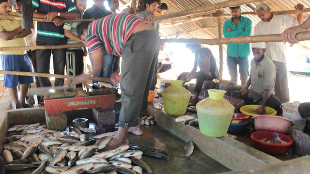 The man weighing the fish runs a thriving business next to the lake, with minimal financial investment.
