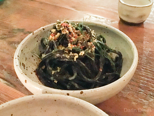 Chilled Squid Ink NOODLES Cortez Bottarga, Fennel, Lemon Oil