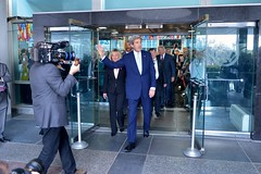 U.S. Secretary of State John Kerry departs the Harry S. Truman Building's main entrance for final time, after delivering farewell remarks to employees at the U.S. Department of State in Washington, D.C., on January 19, 2017. [State Department photo/ Public Domain]