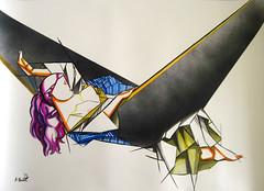 Aleksandar Basic- Void - ink, acrylic and spray paint on paper 105 cm x 76 cm, The Origin of the World