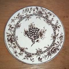 Vintage Doulton Burslem Brown-and-White Transferware China Plate - Oxford Pattern