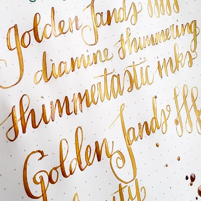 Golden sands a new shimmering ink by Diamine. This is just SO beautiful! Shading and shimmer. Super nice! @bureaudirect @mishka5050 #diamine #shimmertastic #shimmeringink #goldensands #fpgeeks #FPN #fountainpennetwork