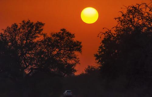 panorama orange sun car sunrise landscape southafrica alba savannah filippo paesaggio krugernationalpark skukuza sigma70300 d7000 filippobianchi