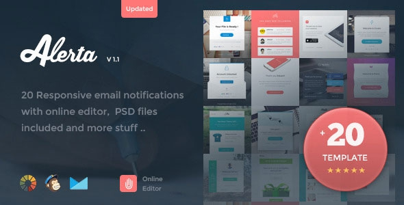 ThemeForest Alerta v1.1 - 20 Responsive Email Notification + Online Editor