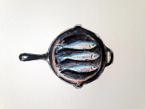 Skillet Fish in watercolor and pen.