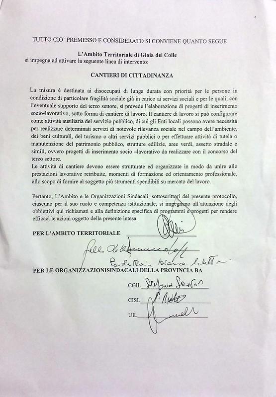 Casamassima-Il protocollo dei Cantieri di Cittadinanza siglato dai Sindacati