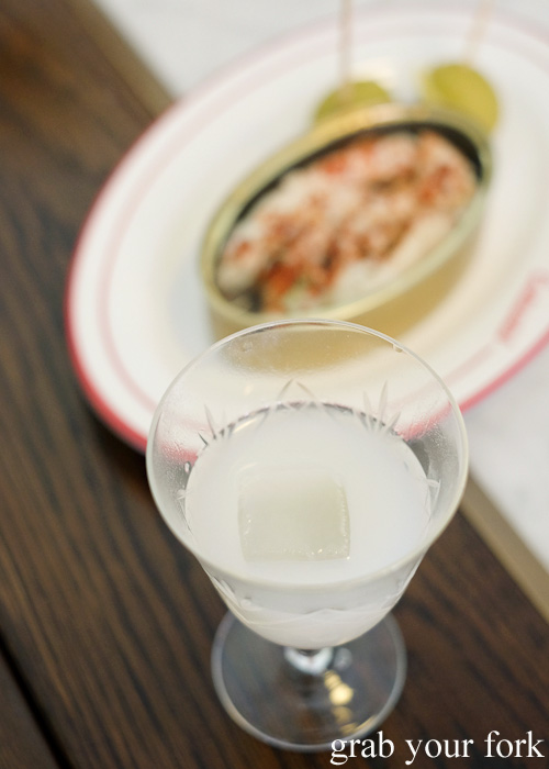 Razor clam juice with dry sherry and Lillet Blanc at Continental Deli and Bistro, Newtown Sydney food blog review