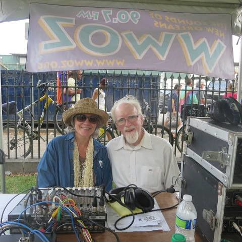 Sally Young and Dan Fitzgerald at  WWOZ live broadcast from the Old U.S. Mint in 2014. Photo courtesy Sally Young.