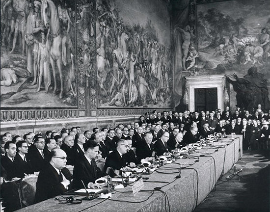 The signing ceremony for the Treaty of Rome at the Palazzo dei Conservatori