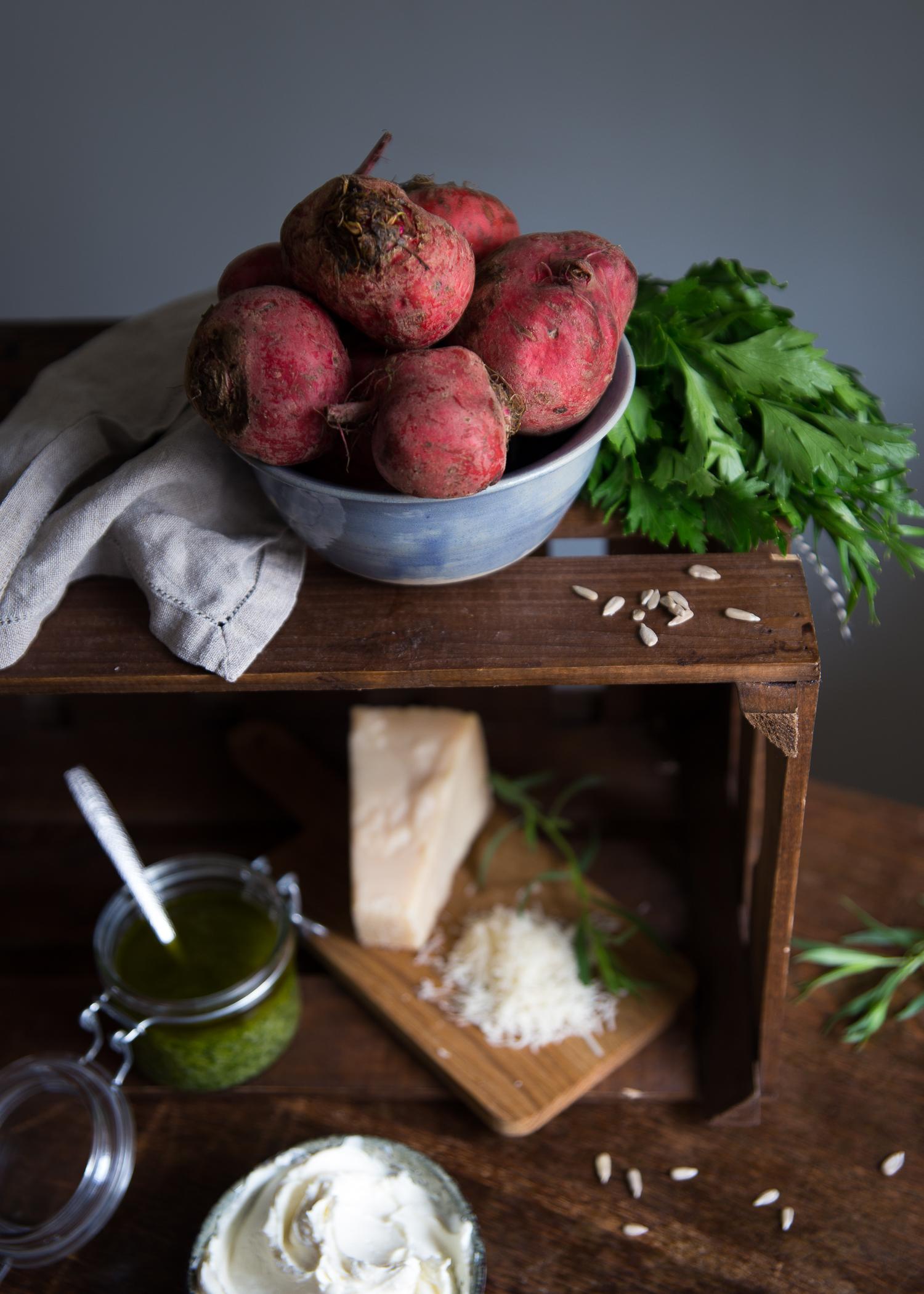 Polka Beet Carpaccio with Goat Cream Cheese & Tarragon Pesto   Cashew Kitchen