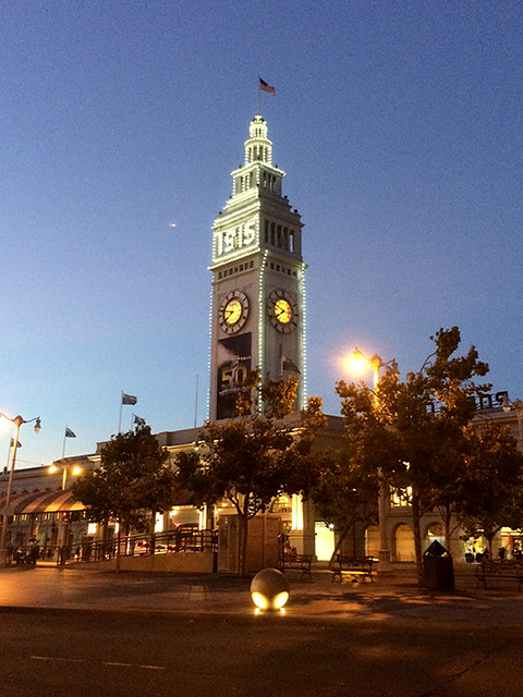 Ferry Building lit up