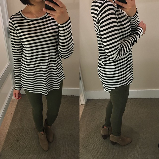 LOFT Striped Long Sleeve Tee, size M