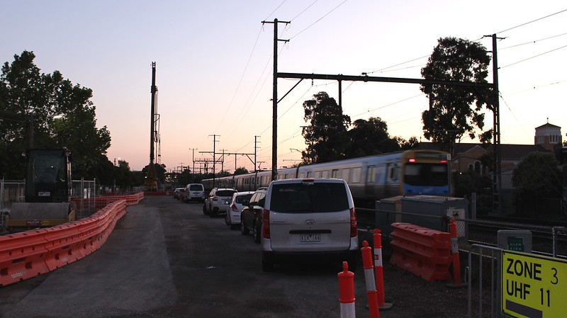 Level crossing removal works near Ormond
