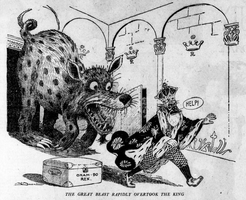 Walt McDougall - The San Francisco call., June 11, 1905, The Great Beast Rapidly Overtook The King
