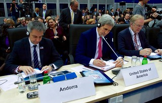 Secretary Kerry Works on His Remarks During Plenary Seesion of OSCE Ministerial Council in Belgrade