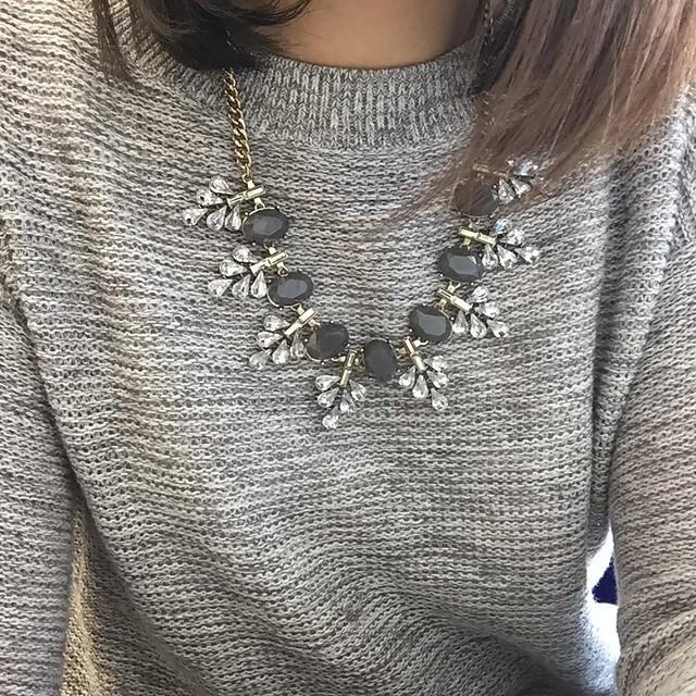 LOFT Crystal Leaf Statement Necklace (old)