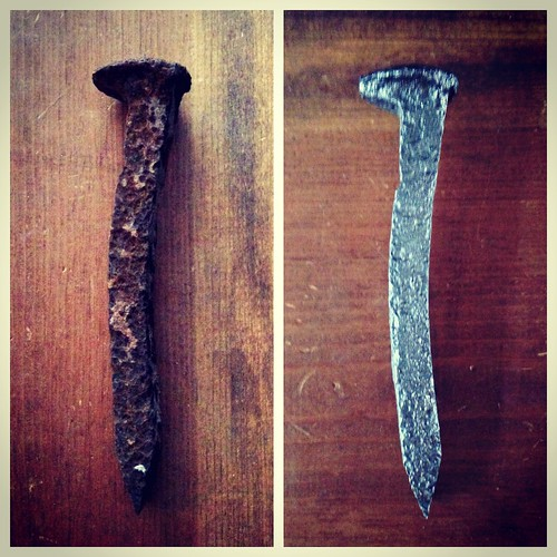 Cleaned up a railroad spike we found on a short hike a couple of weekends ago.