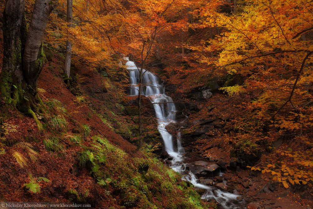 Waterfall at autumn forest