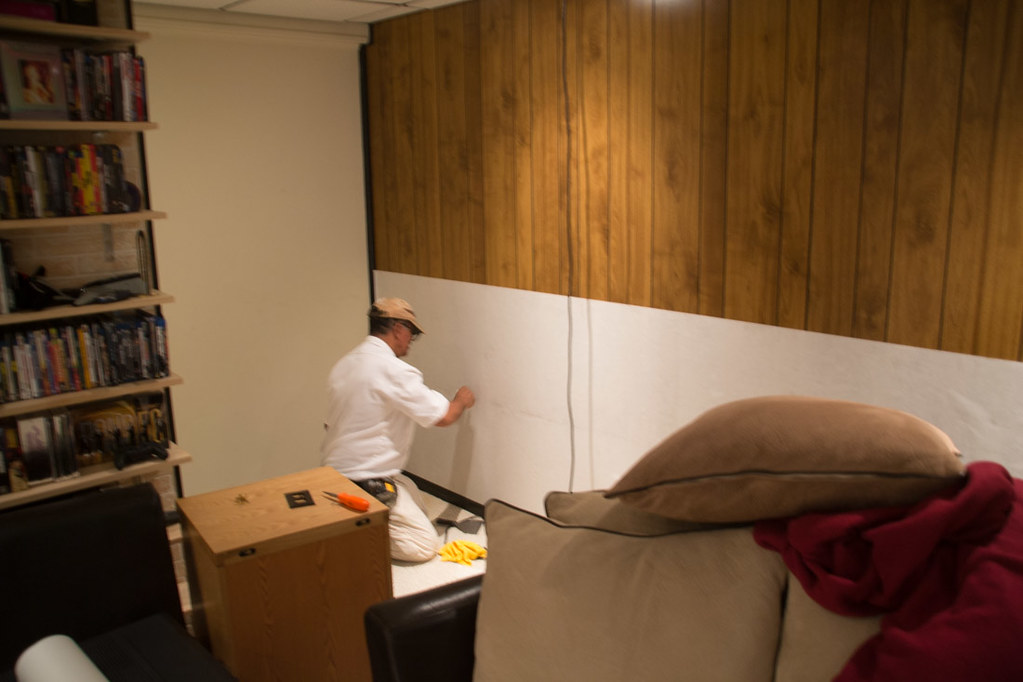 Installing wallpaper over wood paneling