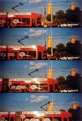 red tram blue sky