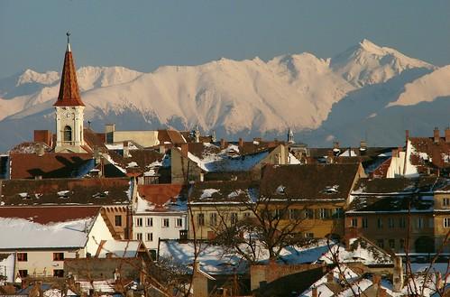 Reformed Church - Sibiu Romania with Negoiu Peak