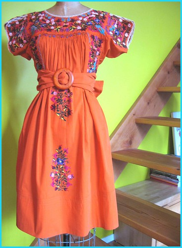 orange vintage mexican dress