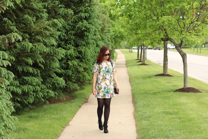 Botanical-print-dress-black-tights-chanel-bag-3