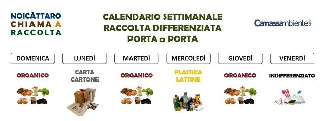 Noicattaro. Raccolta differenziata calendario intero