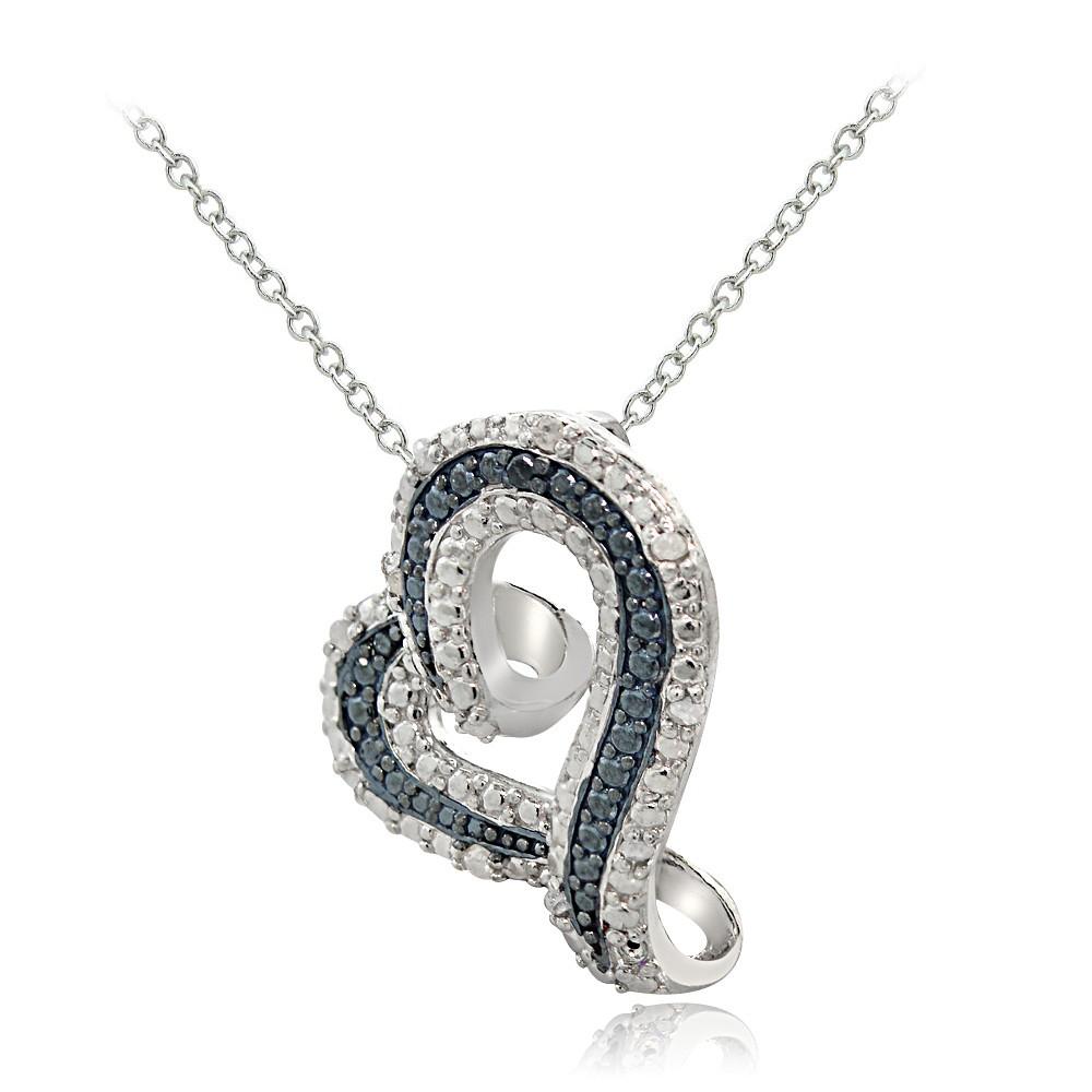 Sterling Silver 1 8ct Tdw Treatedblue Amp White Diamond
