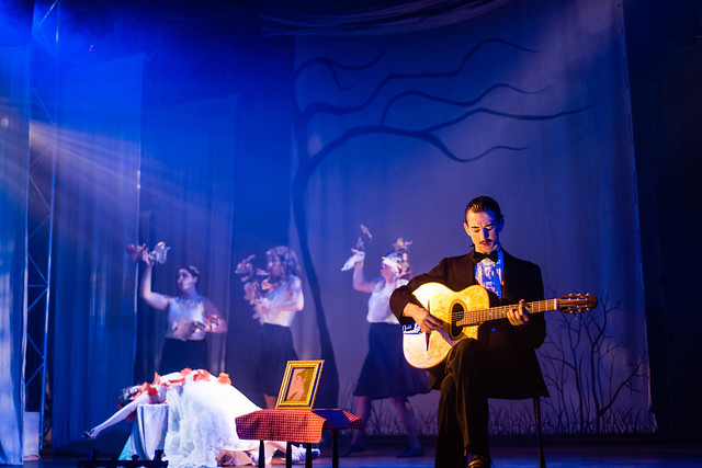 Dominic Conway as Orpheus/Django Reinhardt in Orpheus, Little Bulb Theatre © James Allan and RULER