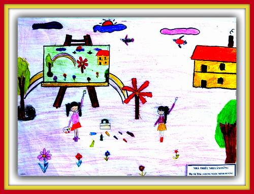 N°79  Dessins d'Enfant, Children's Drawing, Child's Drawing, Art Enfantin, Enfance, Childish Art, Vietnam Vietnamien Vietnamiènne Vietnamese, Exposition Exhibition Exposure Musée Museum, Académie des Beaux Arts,  Academy of  Fine Arts, Saigon, TP Ho Chi M