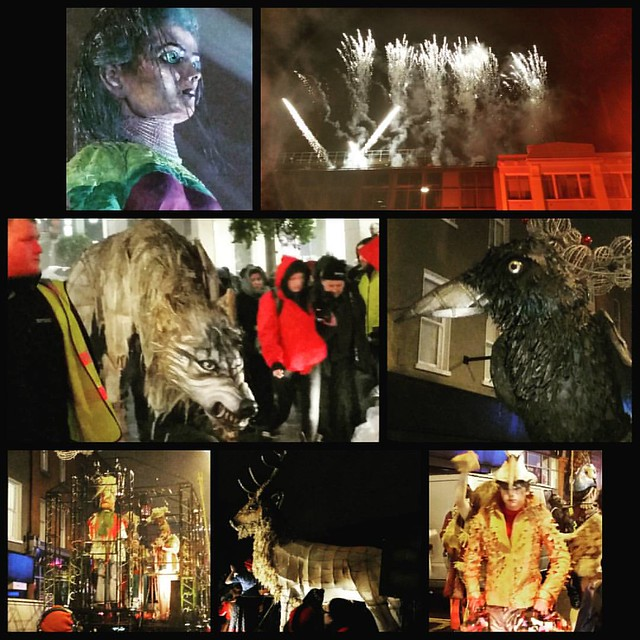 Parade of the Macnas as part of the Bram Stoker festival. @bramstokerdub @macnasireland #parade #festival #dublin #ireland #bramstoker #macnas #puppet #rain #autumn #halloween #warewolf #crow #raven #stag #deer
