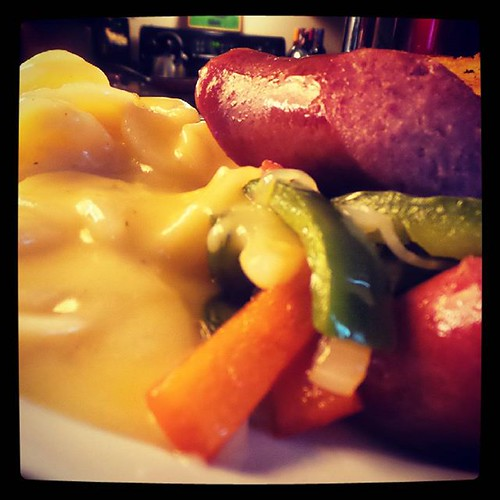 It's what's for dinner: Smoked sausage with onions and peppers and scalloped potatoes. #Yum!