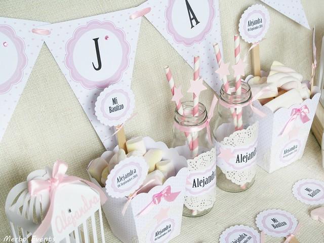 Decoración Mesa dulce Bautizo de estrellas rosas Merbo Events