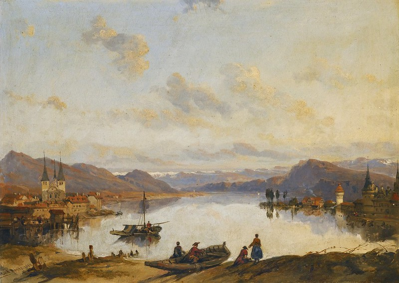 David Roberts R.A. - View of Lucerne (1852)
