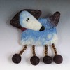 Cloud Dog needle felted brooch
