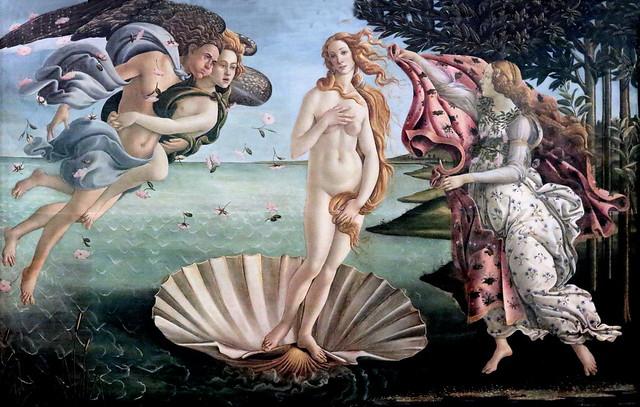 IMG_9500A Sandro Botticelli. (Alessandro di Mariano di Vanni Filipepi) 1444-1510. Florence. La Naissance de Vénus. The Birth of Venus. Florence. Le Printemps. 1480. Florence.  Musée des Offices.