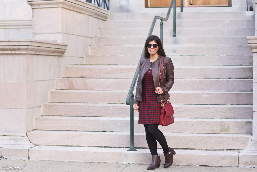 plaid dress, brown leather jacket, brown boots-7.jpg