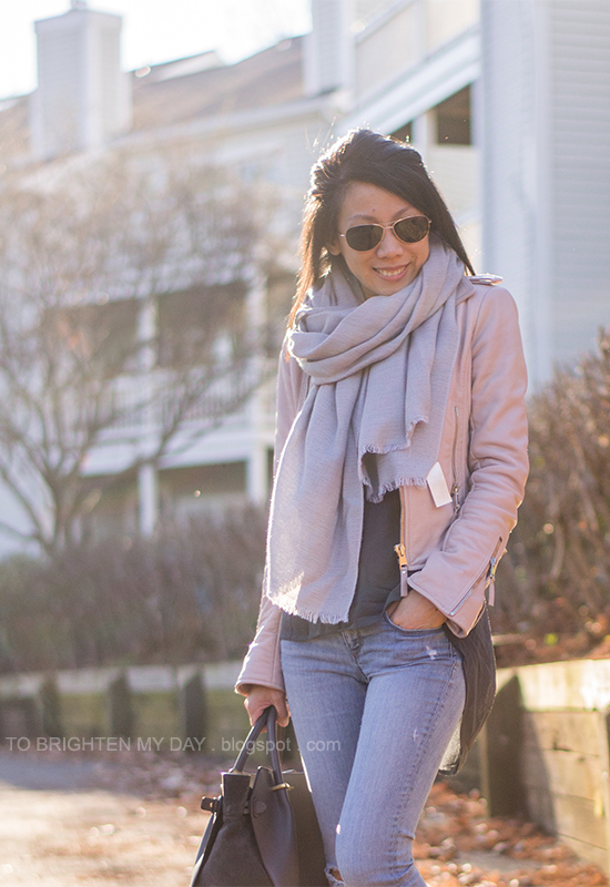 gray scarf, lilac leather jacket, dark gray tunic, light wash distressed jeans