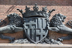 Barcelona (Montjuïc). A couple of lions supporting the Coat of arms of Barcelona. Relief on the facade of the City of Barcelona pavilion for the 1929 International Exposition. 1929. Pere Jou, sculptor