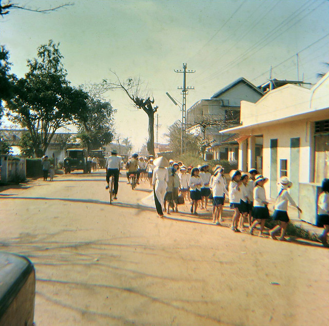 Vietnamese School Girls going to class in Vietnam 1960s